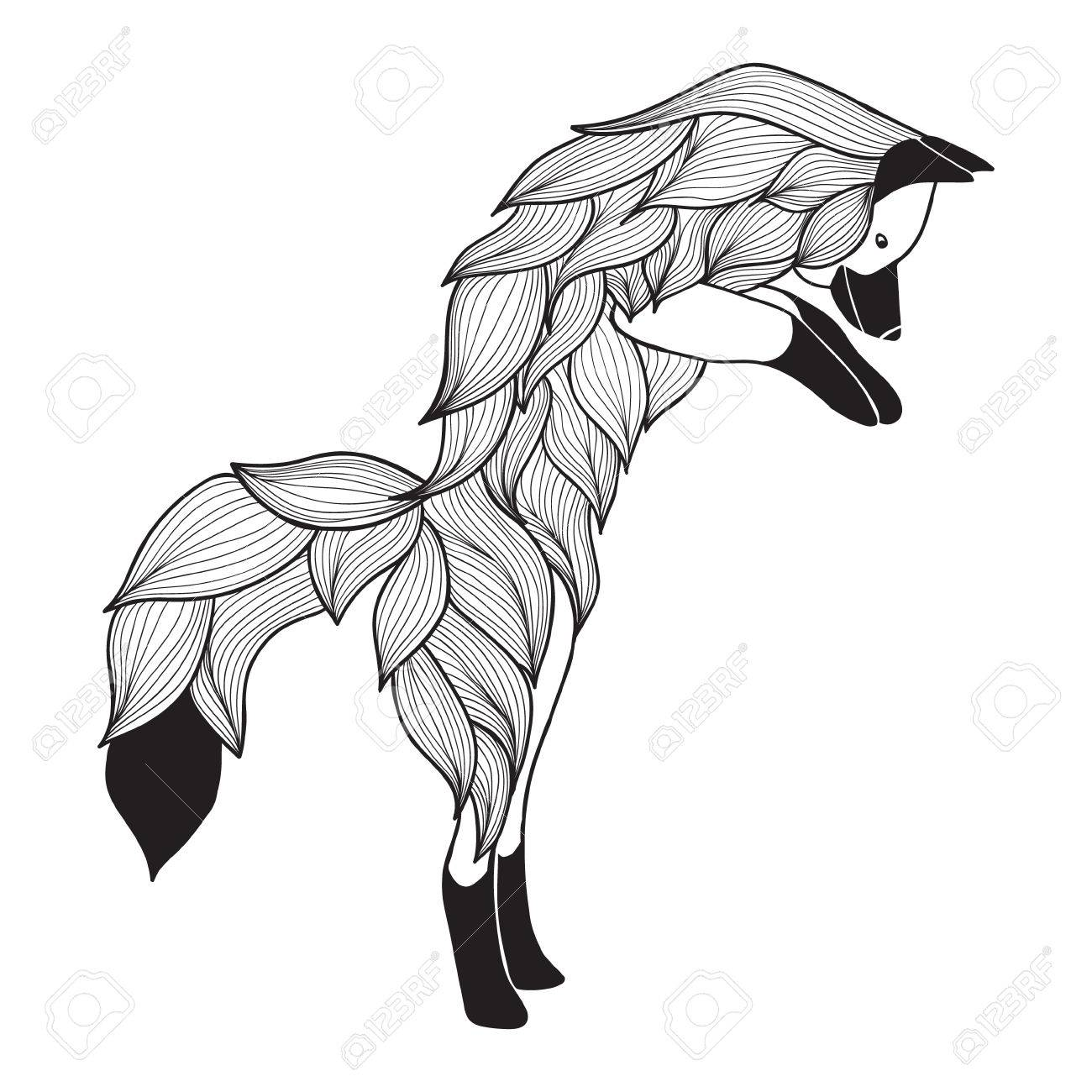 Doodle Vector Jumping Fox For Adult Anti Stress Coloring Pages