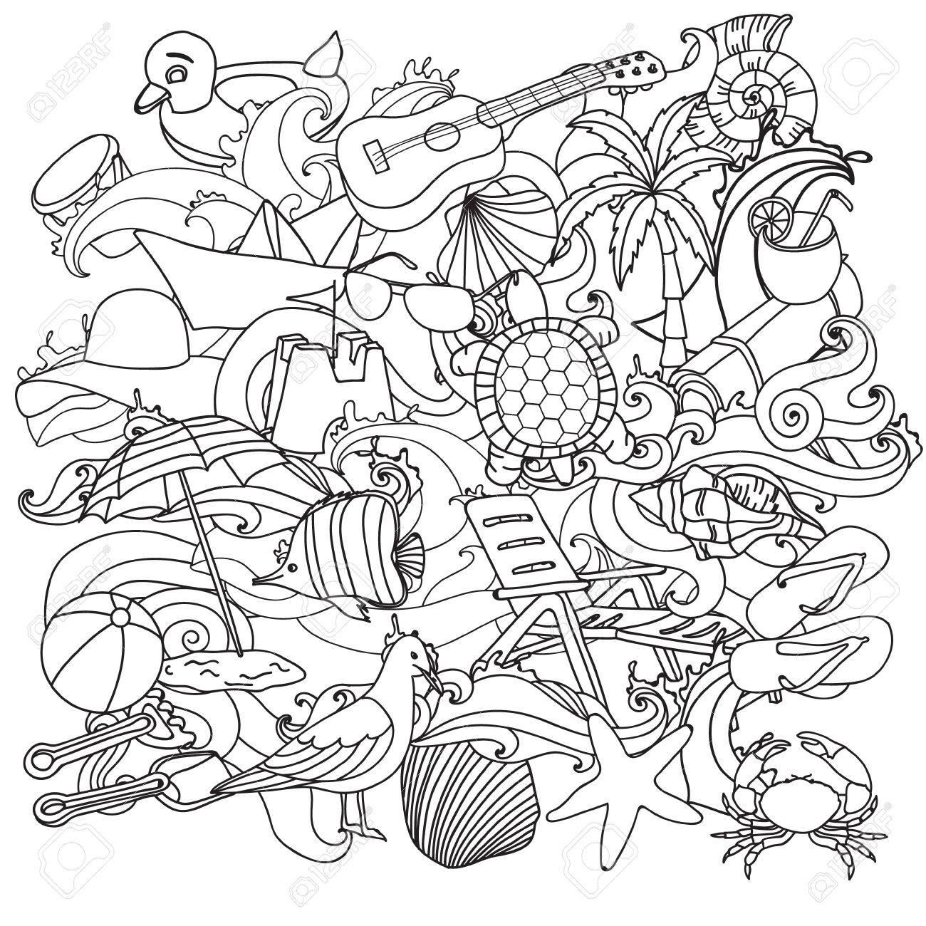 Incompleta Del Vector Dibujado A Mano Conjunto De Dibujos Animados ...