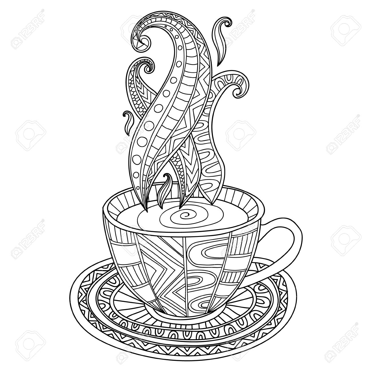 Vector Kaffee Oder Tee-Tasse Mit Abstrakten Ornamenten. Hand ...