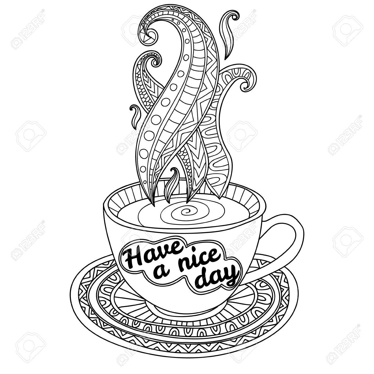 Vector Coffee Or Tea Cup With Abstract Ornaments And Lettering ...