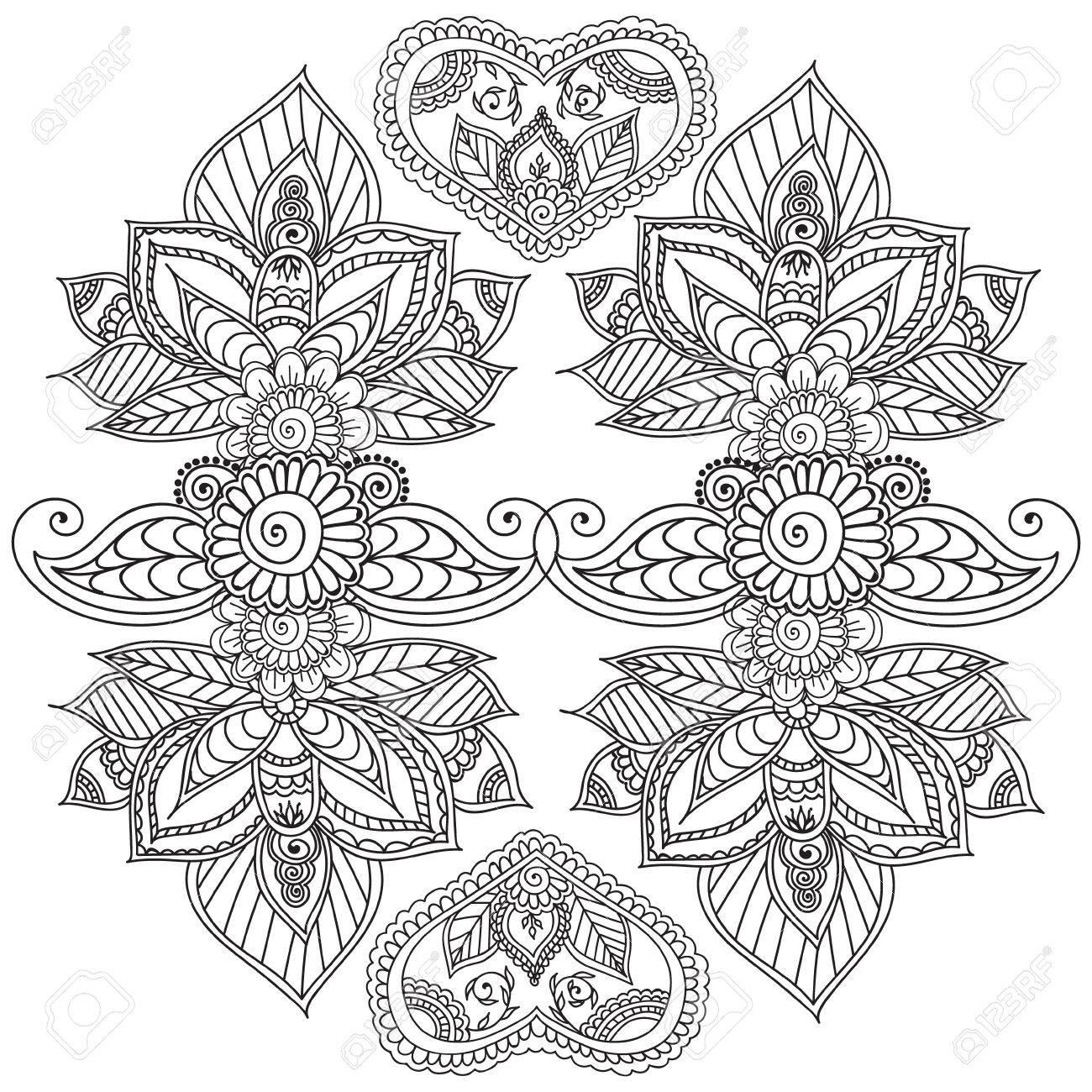 Dibujos Para Colorear Para Adultos Henna Mehndi Doodles Elementos Florales Abstractos Del Diseño De Paisley Mandala Ejemplo Del Vector Libro De