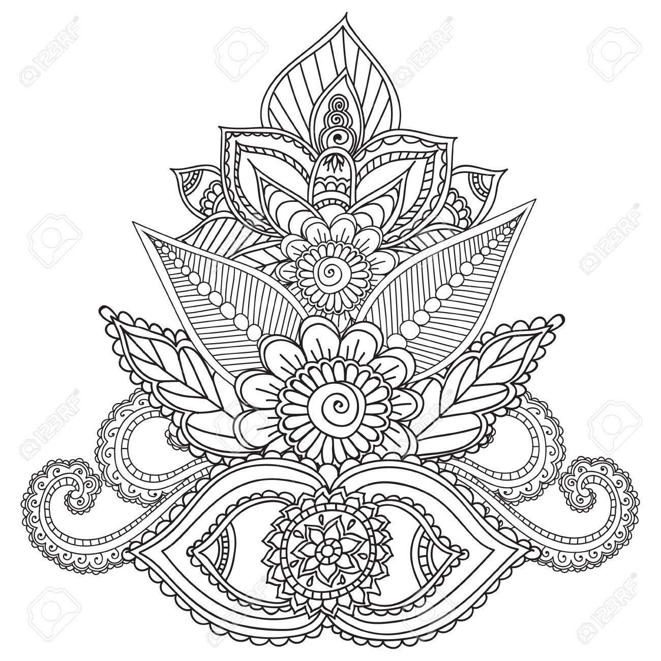 Malvorlagen Für Erwachsene. Henna Mehndi Doodles Abstract Floral ...