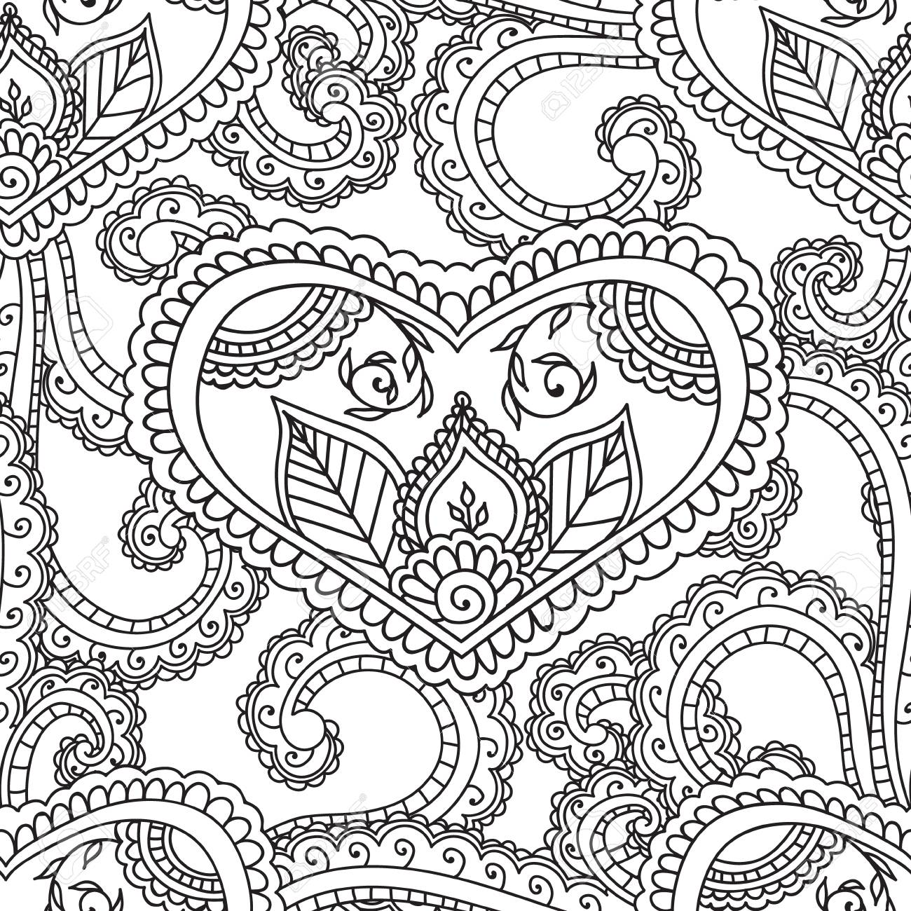 Coloring Pages For Adults Seamless Pattern Henna Mehndi Doodles
