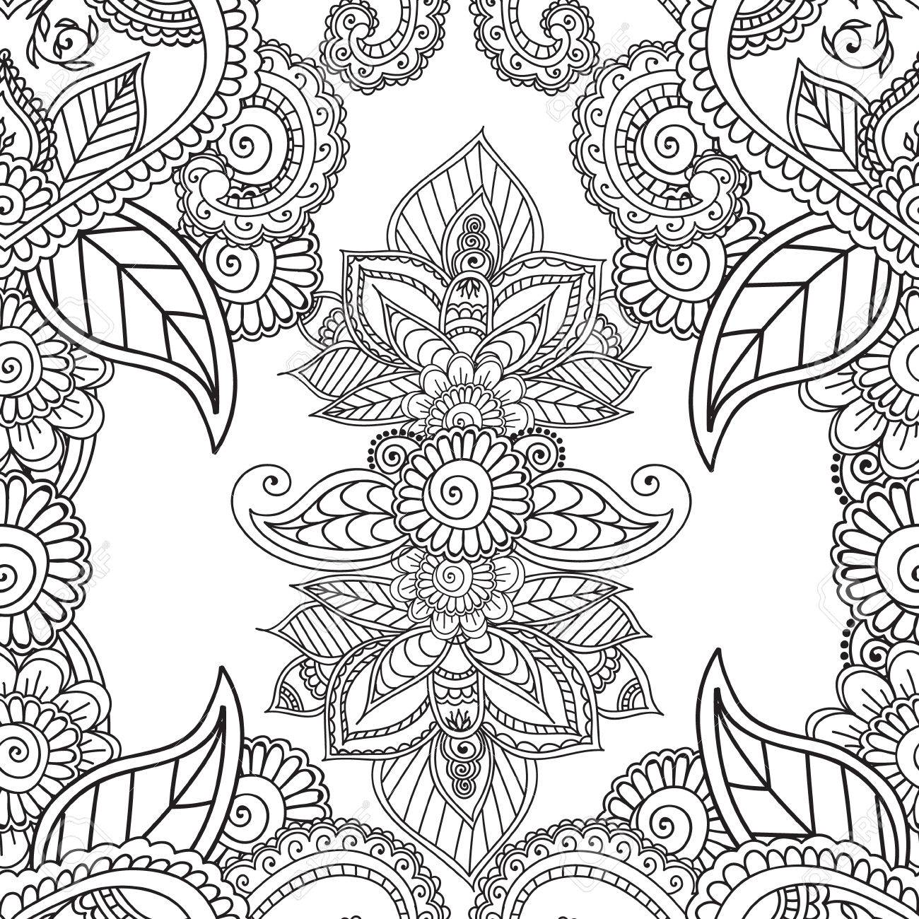 Coloring Pages For Adults. Seamless Pattern.Henna Mehndi Doodles ...