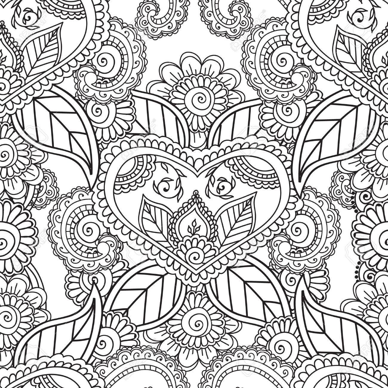 Malvorlagen Für Erwachsene. Nahtlose Pattern.Henna Mehndi Doodles ...