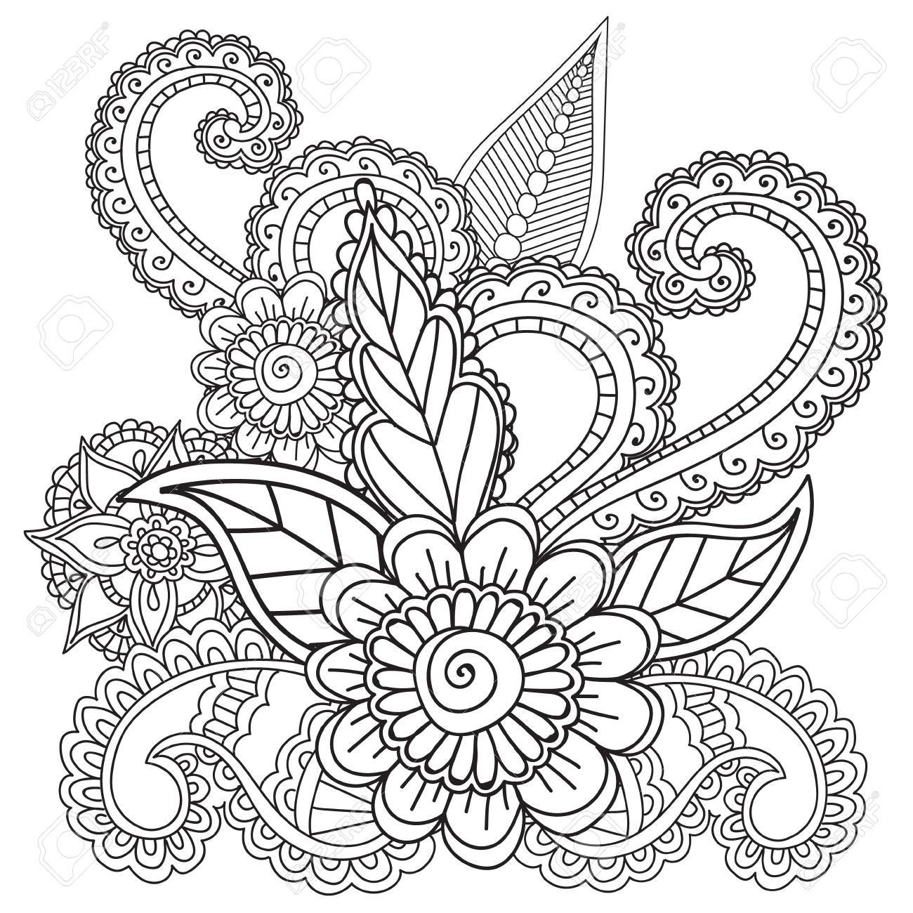 Malvorlagen Für Erwachsene. Henna Mehndi Doodles, Abstract Floral ...