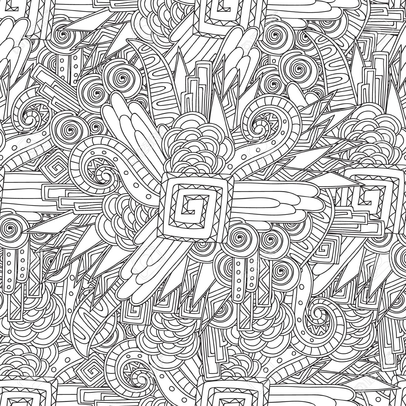 Coloring Page For Sdults Coloring Book.Seamless Black And White ...