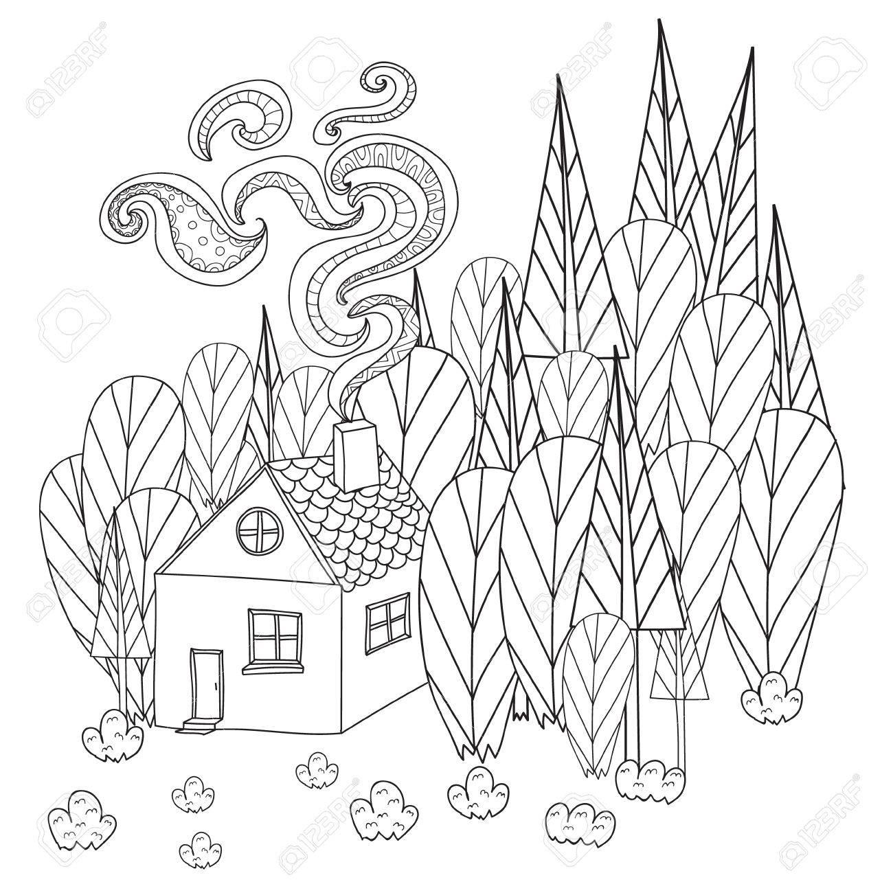 Coloriage Maison Dans La Foret.Pages A Colorier Pour Adultes Et Enfants Livre De Coloriage Maison De Dessin Anime Dans La Foret Modele Dans Le Style De Doodle