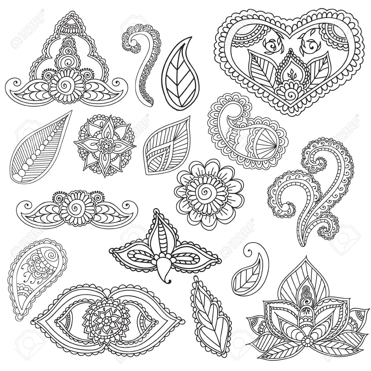 Malvorlagen Für Erwachsene. Cet Fo Henna Mehndi Doodles Abstract ...