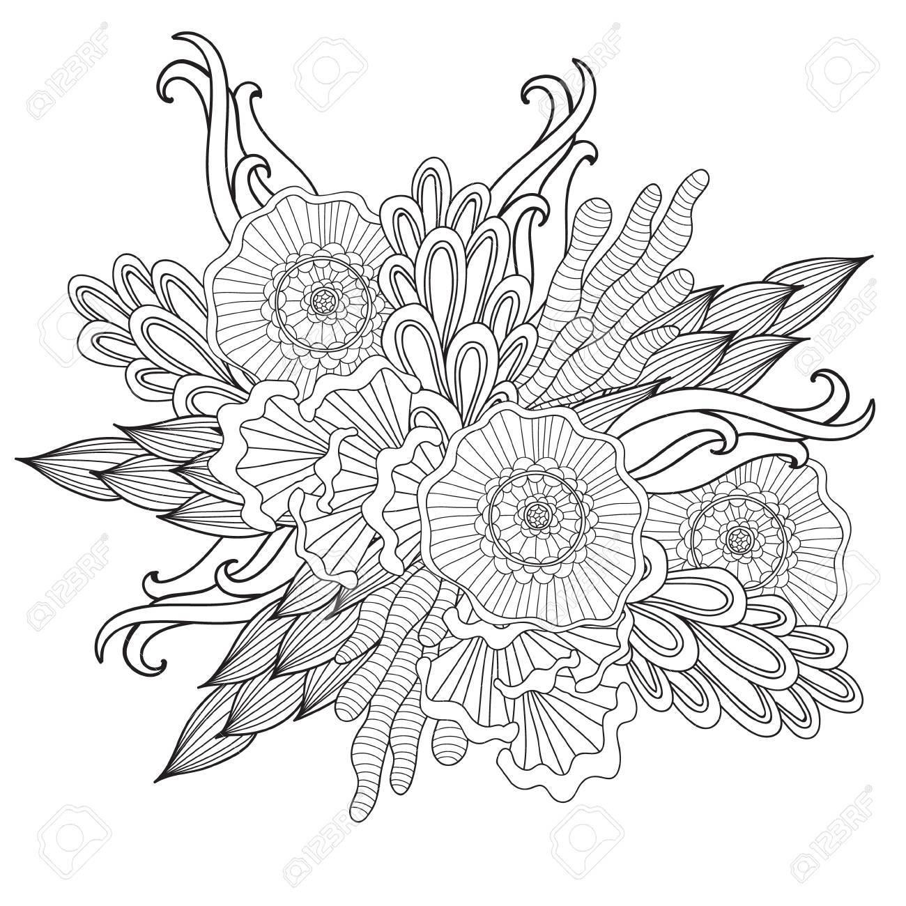 Dibujado A Mano étnica Ornamentales Artística Modelada Marco Floral ...