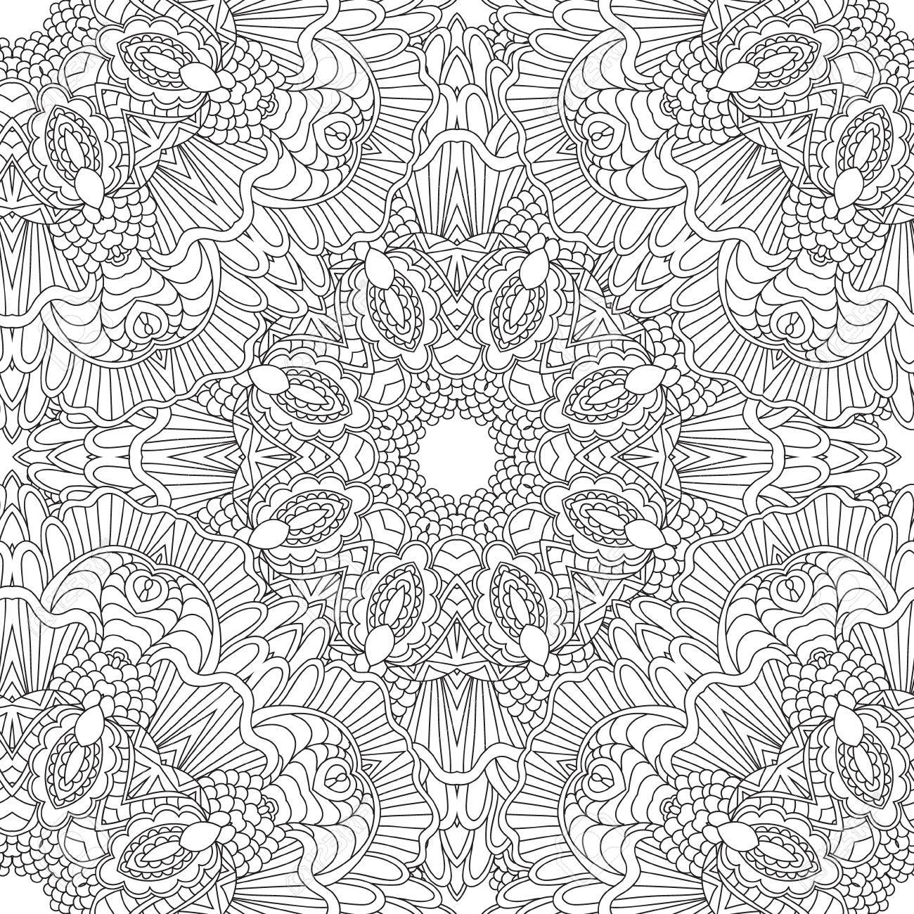 Coloring Pages For Adults. Coloring Book.Decorative Hand Drawn ...