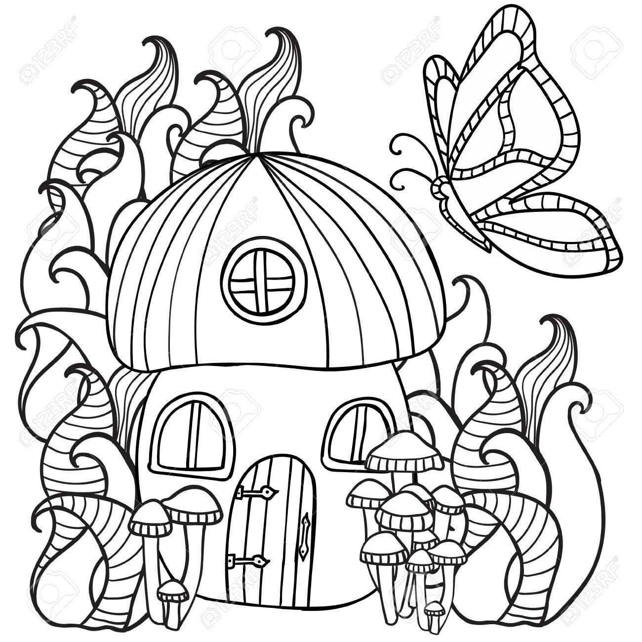 Coloriage Maison Dans La Foret.Pages A Colorier Maison Champignon Avec Un Papillon Dans La Foret Motif De Style De Griffonnage