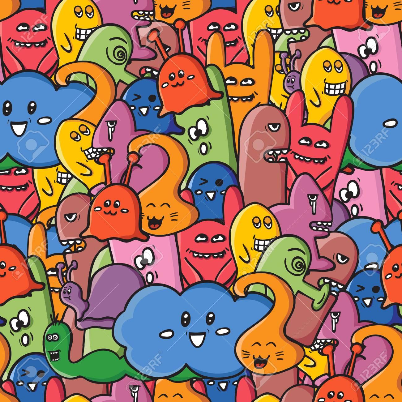 Lustige Monster Graffiti Hand Gezeichnete Skizze Kunst Doodle