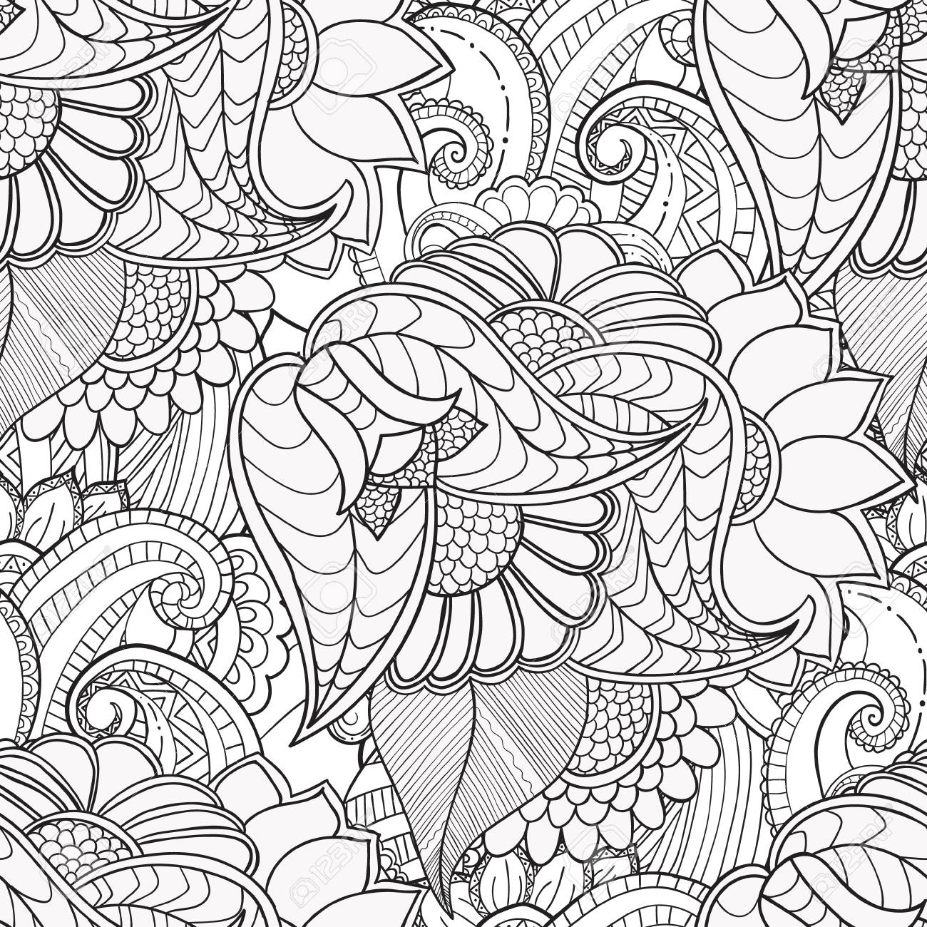 Hand Drawn Artistic Ethnic Ornamental Patterned Floral Frame In Doodle Zentangle Style For Adult Coloring