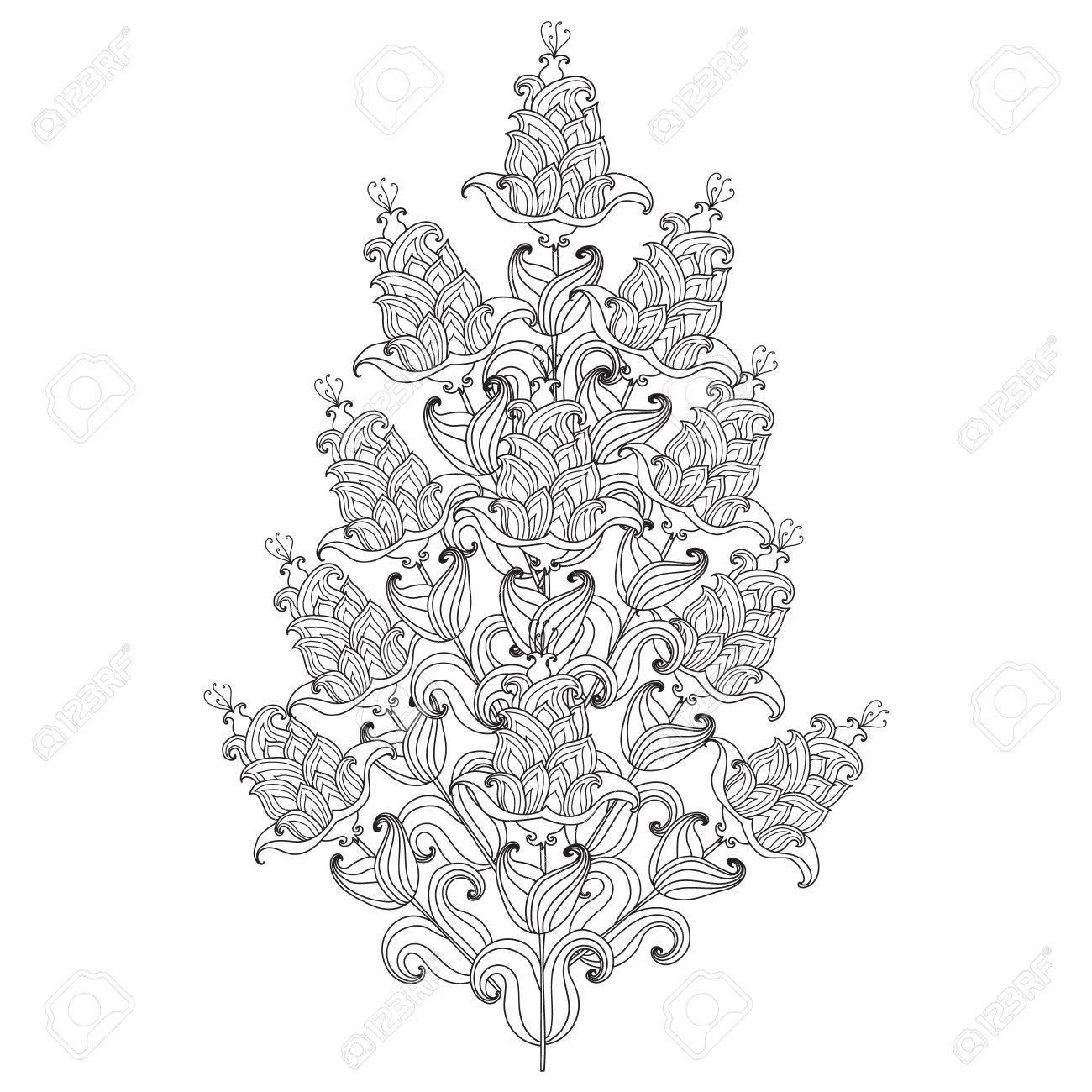 Croquis Fleur Noir Et Blanc Fleurs Décoratives Vectorielles Modèle Pour Pages à Colorier Pour Adultes Coloriage Dook Un Bouquet De Fleurs Avec