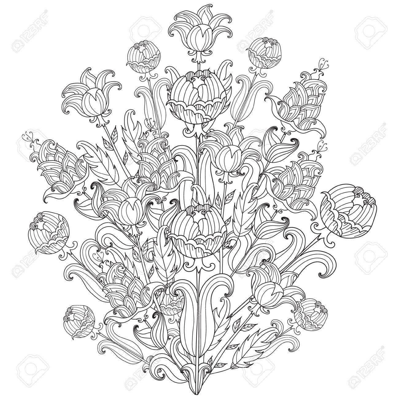 Dessinez Noir Et Blanc Flowervector Flowerstemplate Décoratif Pour Des Pages à Colorier Pour Les Adultes Coloriage Dook Un Bouquet De Fleurs Avec