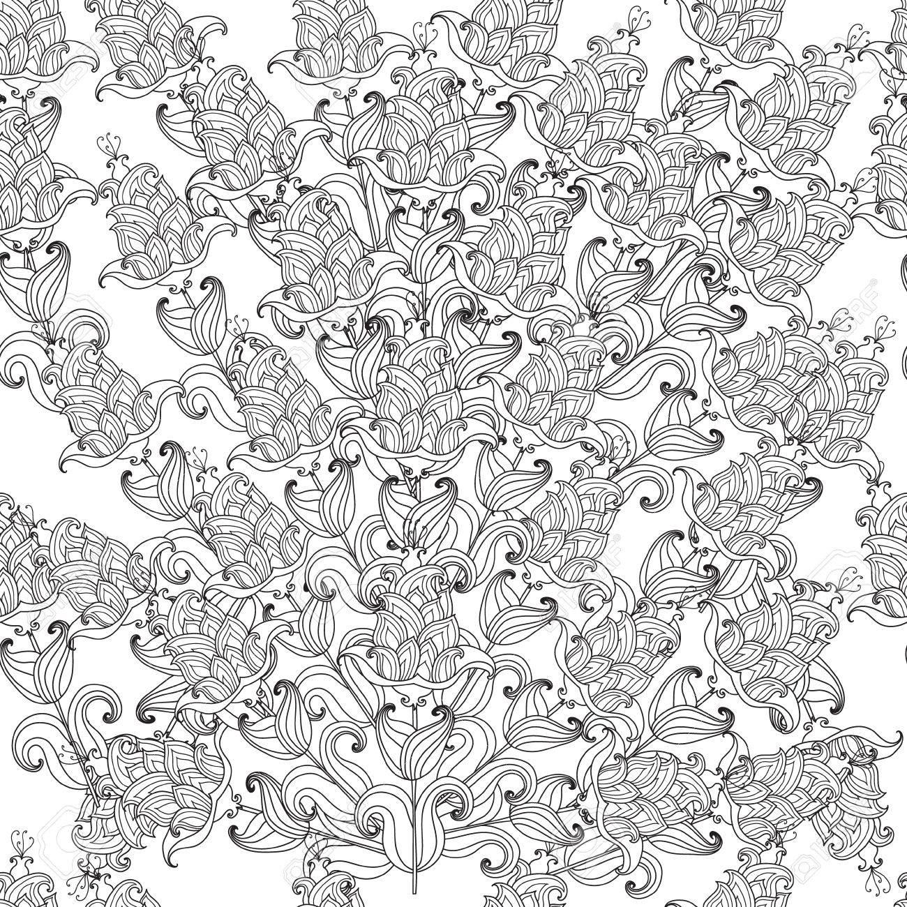 Croquis Fleur Noir Et Blanc Fleurs Décoratives Sans Soudure Vecteur Modèle Pour Les Pages à Colorier Pour Les Adultes Coloriage Dook Un Bouquet De