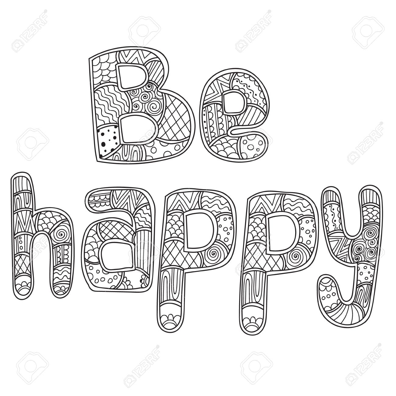 Coloring pages for adults coloring book lettering word be happy doodles stylized vector