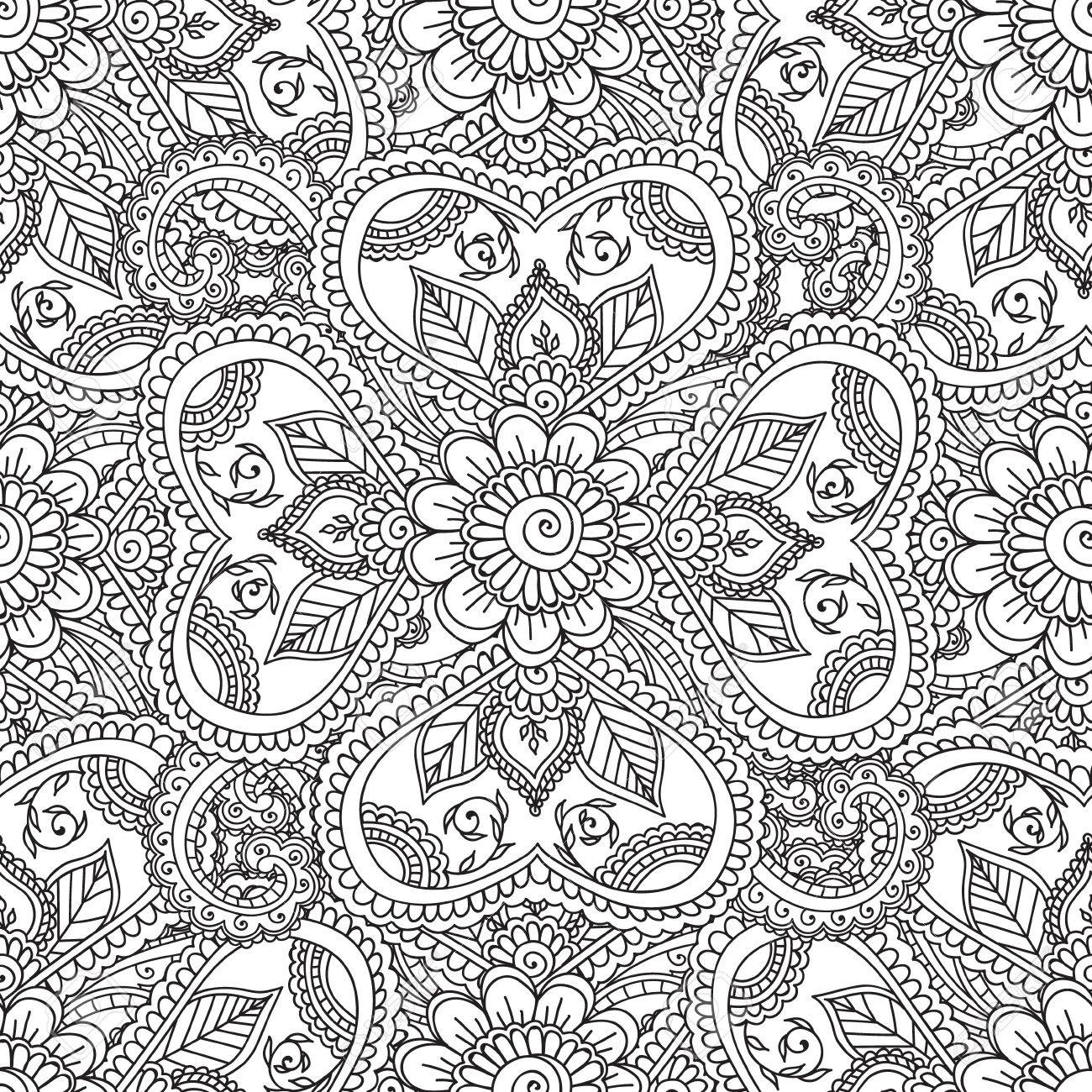 Colorear Páginas Para Adultos. Seanless Pattern.Henna Mehndi Doodles ...