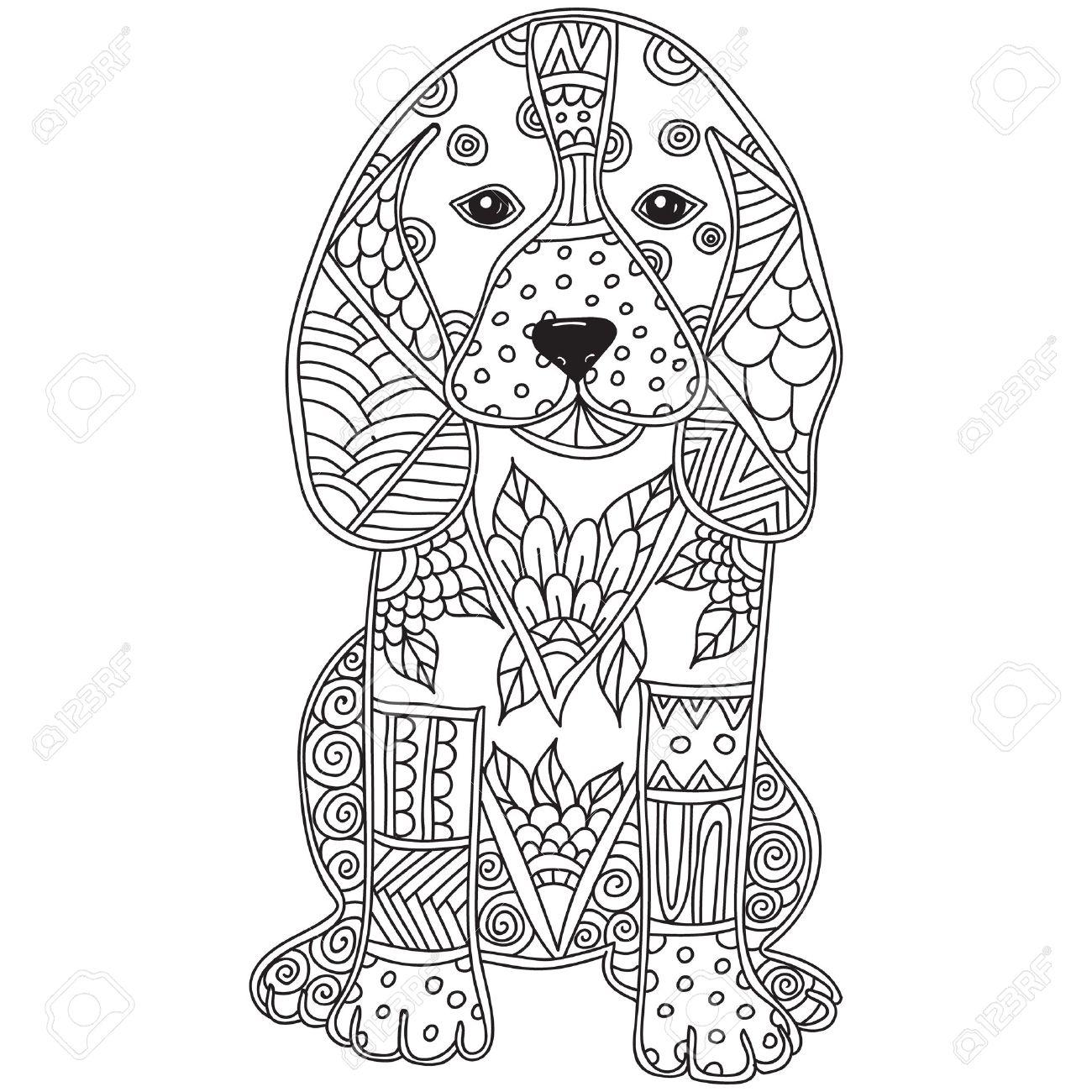 Colorear Antiestrés O Niños Perro Adulto. Dibujado A Mano Doodle Del ...