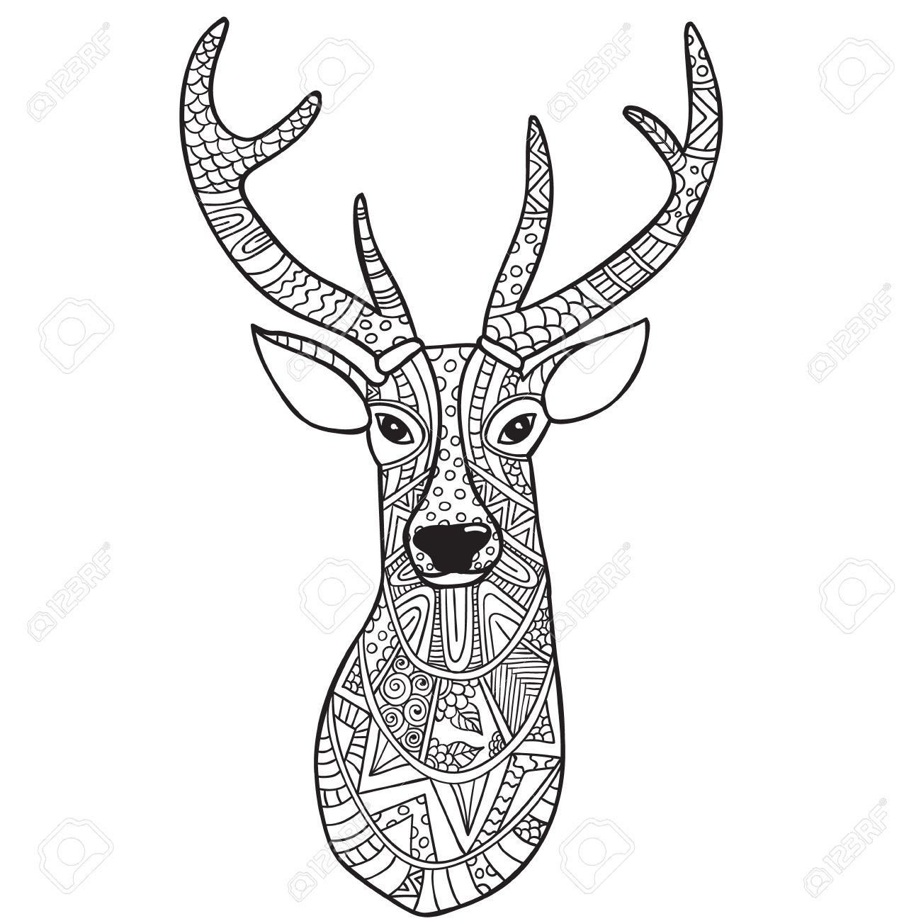 Deer. Hand-drawn Reindeer With Ethnic Doodle Pattern. Coloring ...