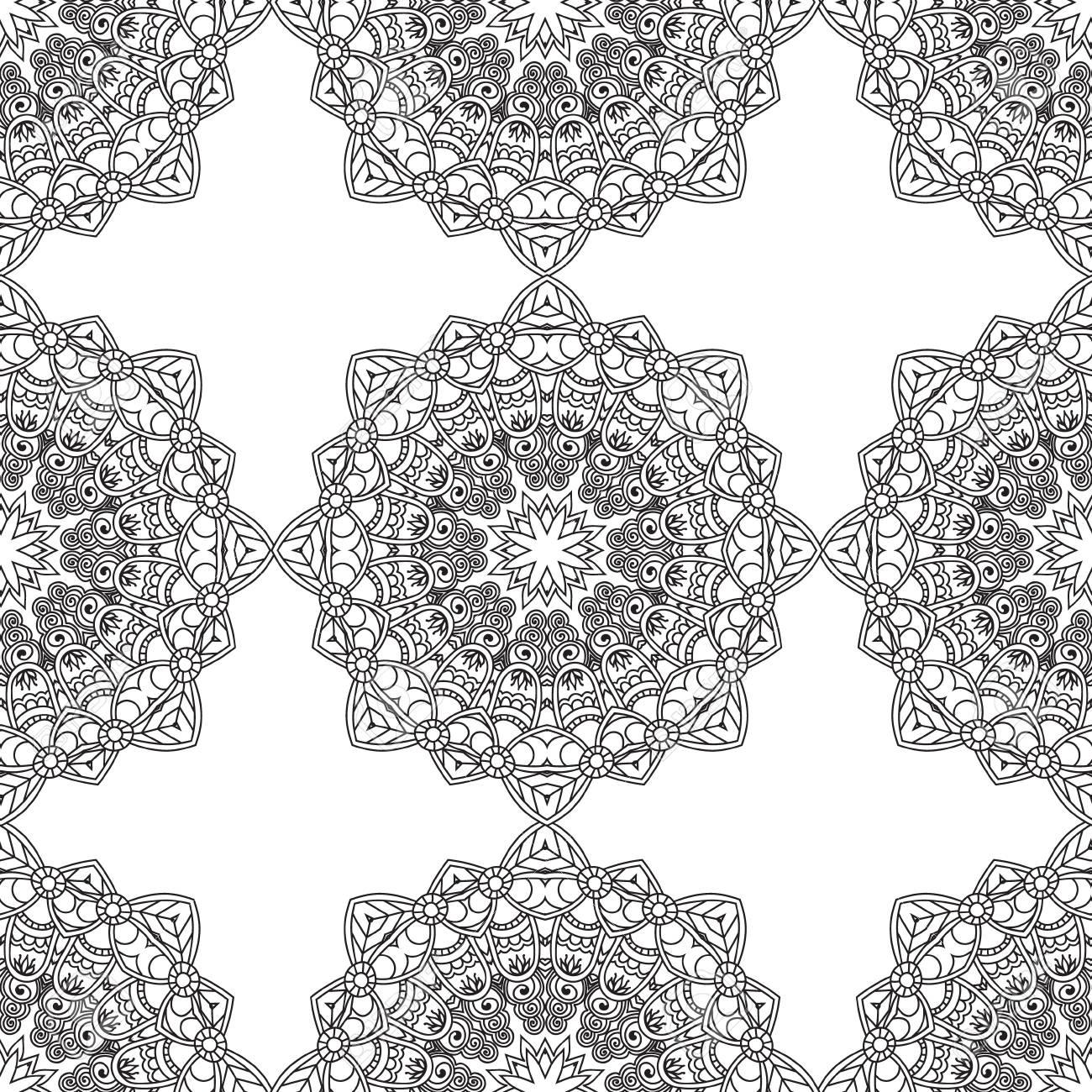 Páginas Para Colorir Para Adultos Livro De Colorir Mão Decorativos Doodle Desenhado Natureza Mandala Ornamental Vector Esboçado Zentangle Sem