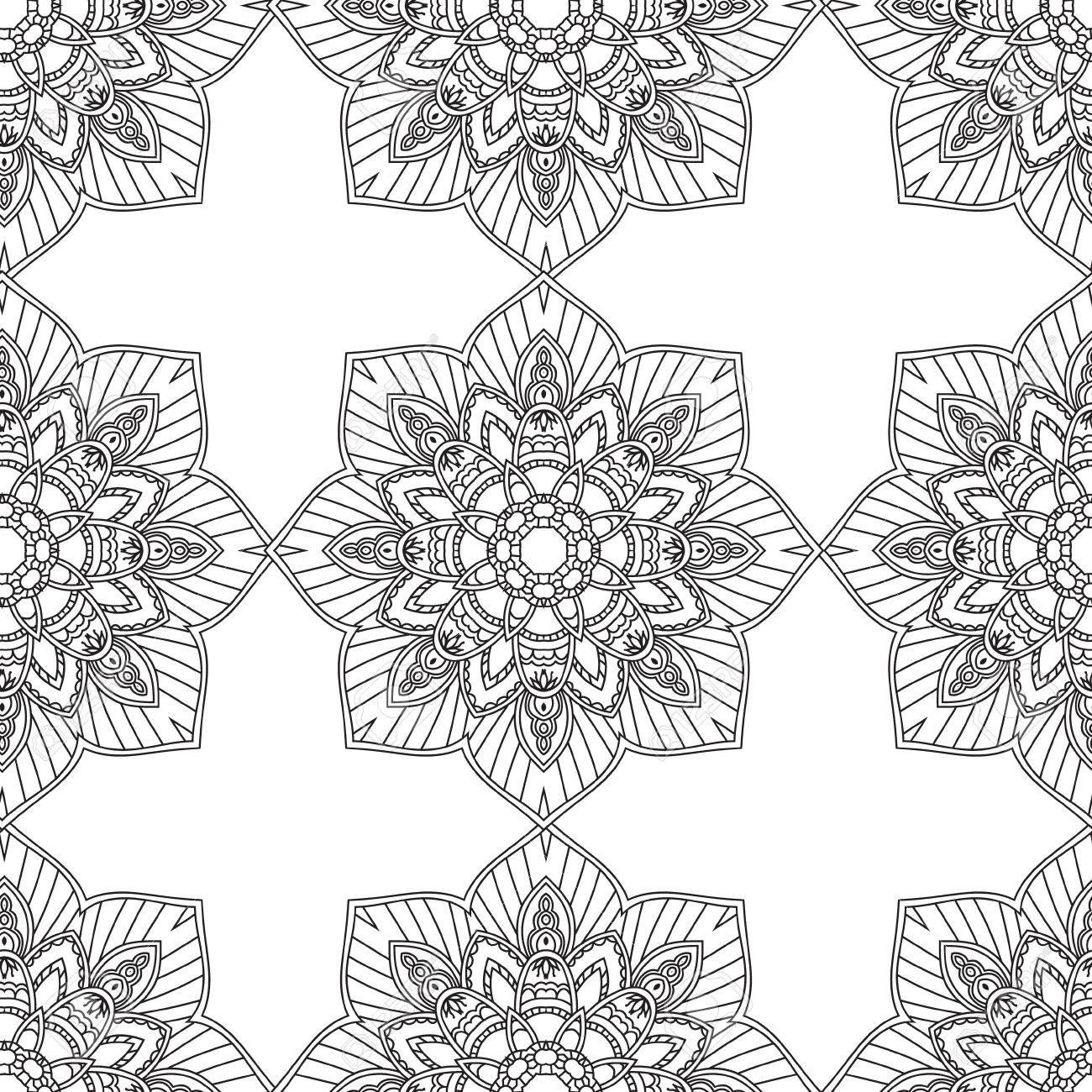 Coloring Pages For Adults BookDecorative Hand Drawn Doodle Nature Ornamental Mandala Vector