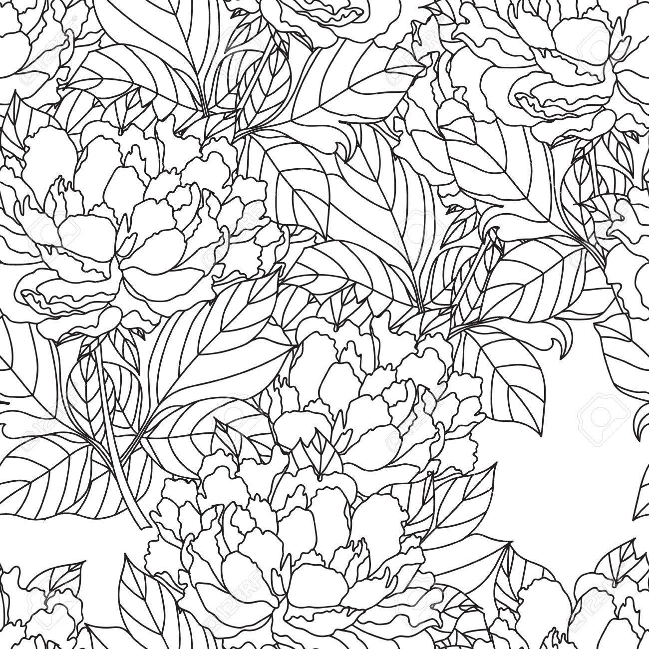 Coloriage Adulte Vegetation.Bouquet De Pivoine Sans Soudure Coloriage Page De Livre Pour Les