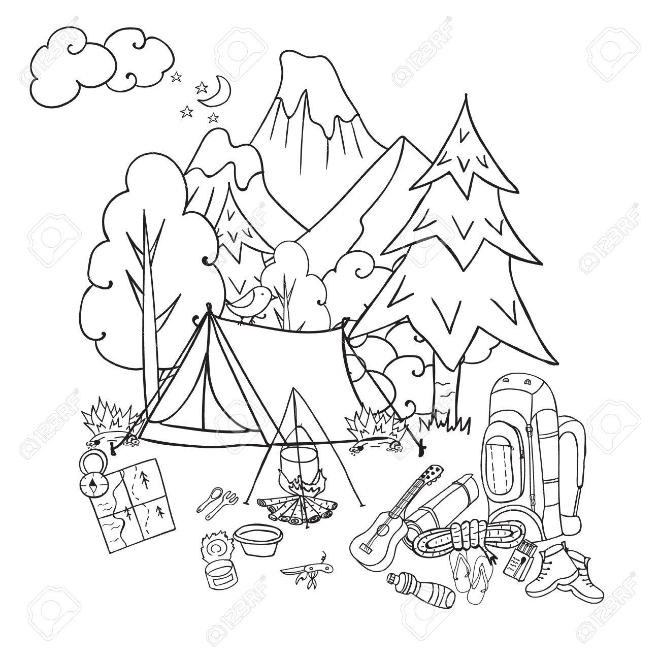 Hiking Camping And Outdoor Recreation Concept With Tent Trees Bonfire Hand Drawn
