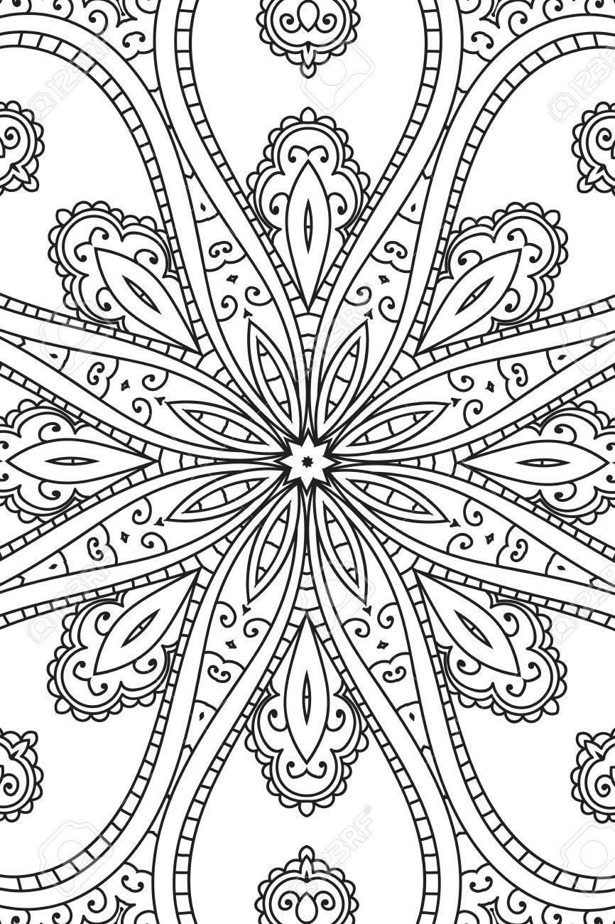 Mandala De Fondo. Libro Ornament.Coloring Redonda Para Adultos ...