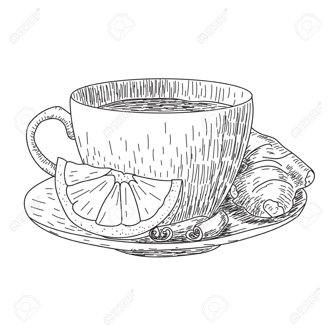 Sketch Of Hand Drawn Cup With Lemon And Ginger Mug Of Hot Drink Stock Photo Picture And Royalty Free Image Image 74604552