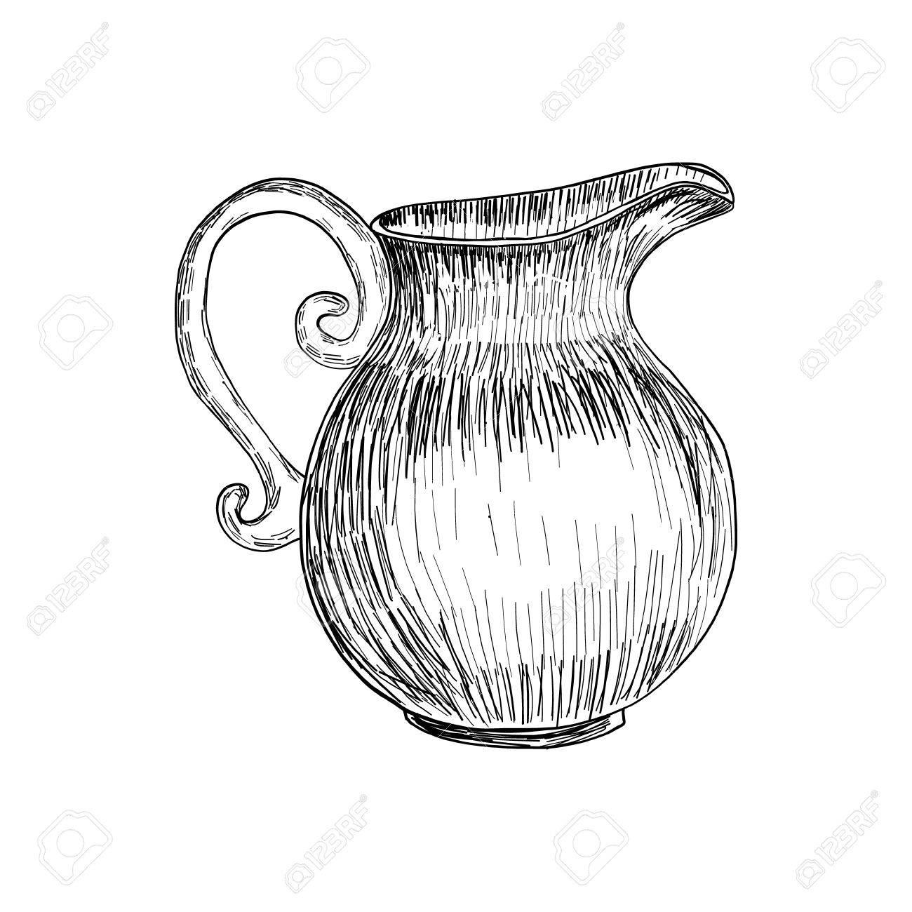 Sketch of milk jug isolated hand drawn illustration vector