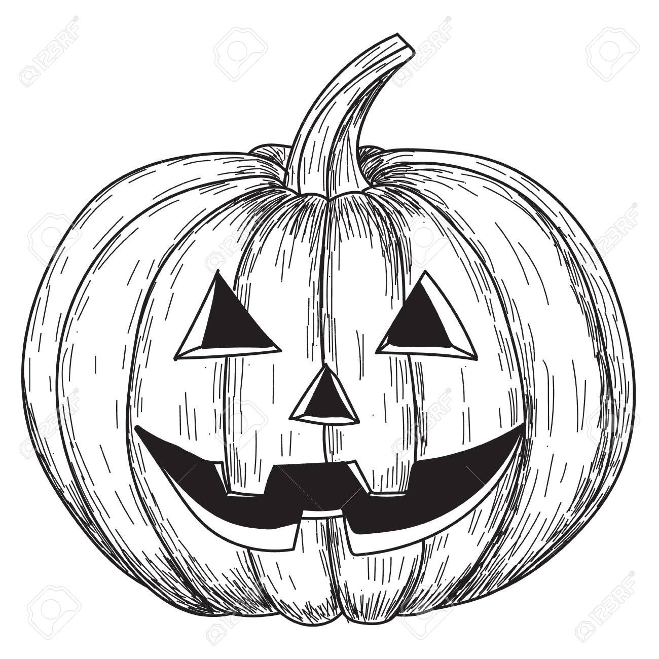 Halloween Pumpkin Drawing Picture.Halloween Pumpkin With Evil Scary Smile In Funny Hand Drawing
