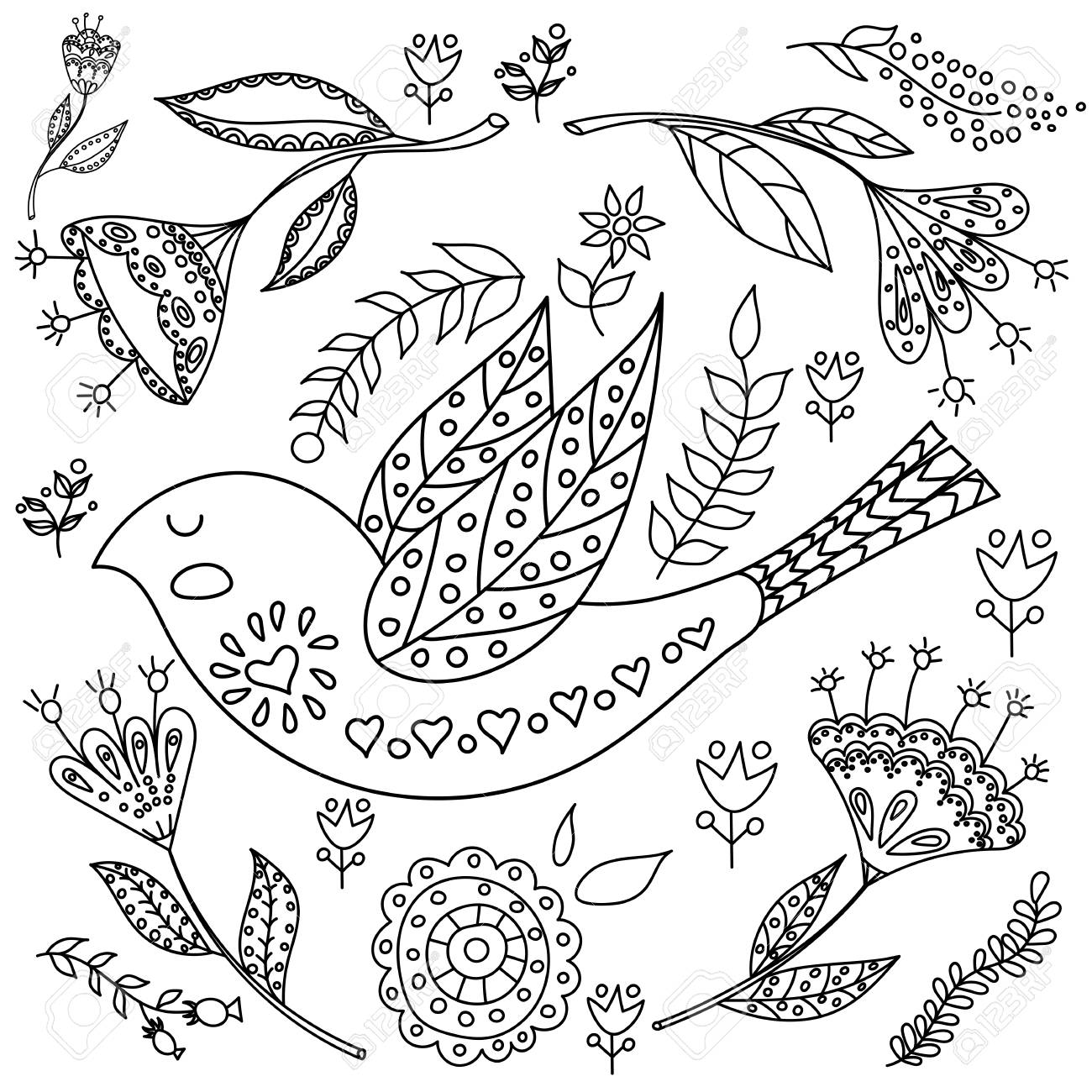 Coloring Book Fol Adults Folk Set Vector Blask And Whit Illustration With Beautiful Birds Flowers
