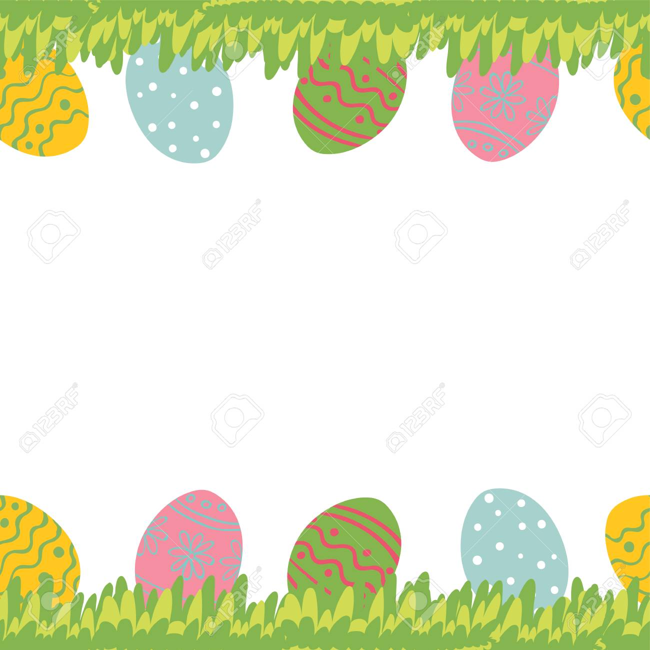 Easter greeting card with seamless floral border eggs and leaves easter greeting card with seamless floral border eggs and leaves perfect for spring holiday m4hsunfo