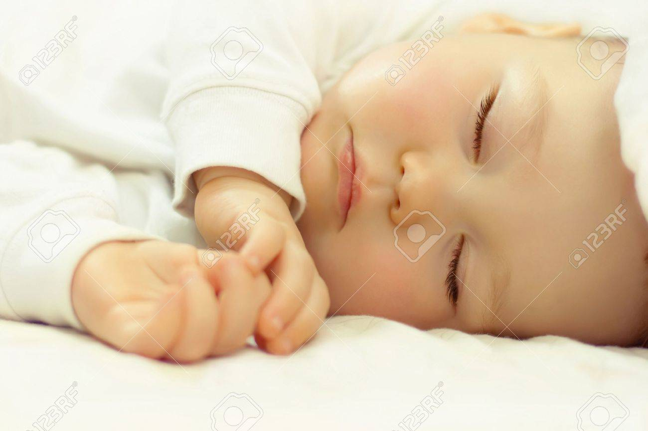 close-up portrait of a beautiful sleeping baby Stock Photo - 23901578