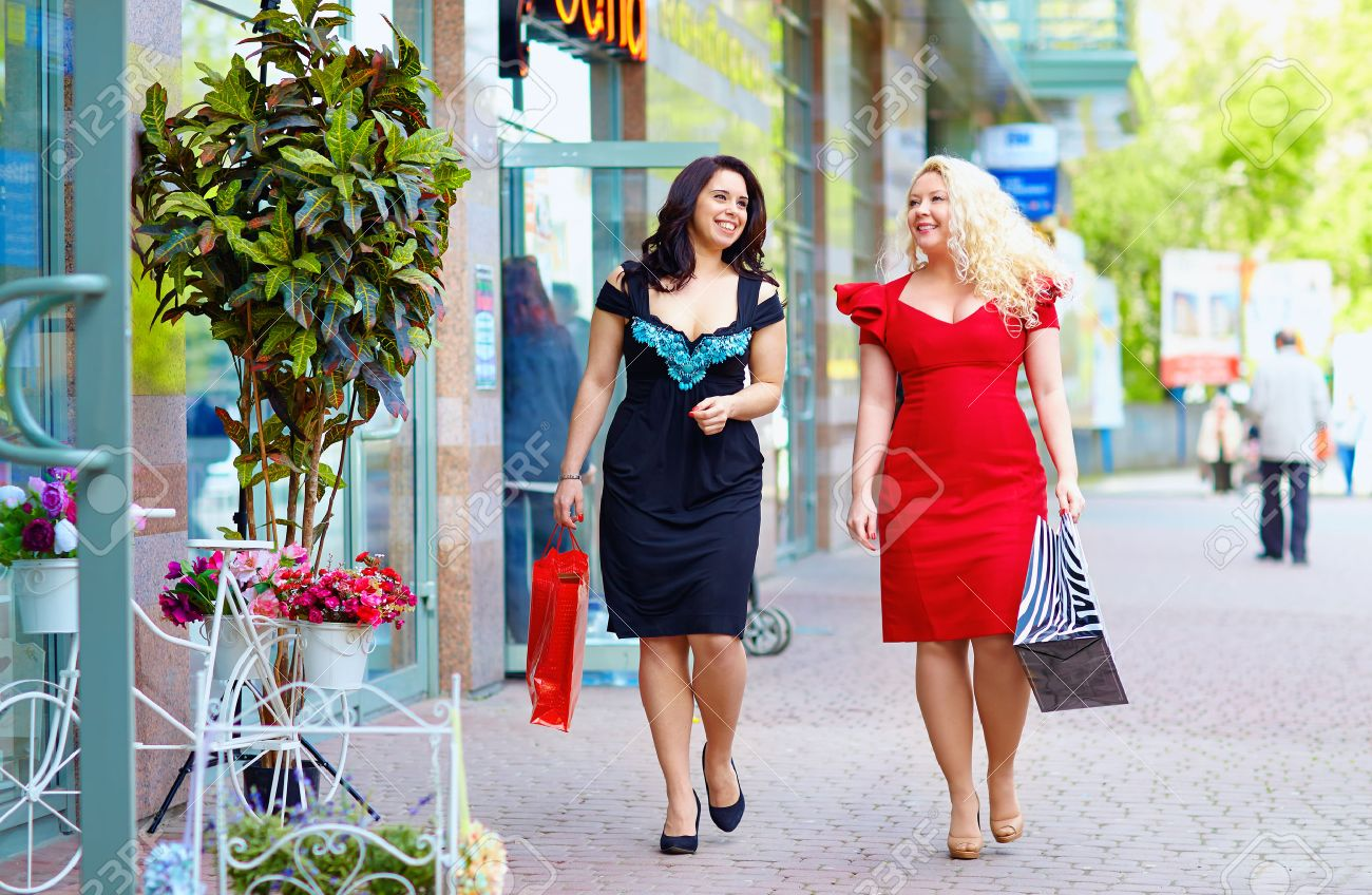 Happy Plus Size Women Shopping Stock Photo, Picture And Royalty ...