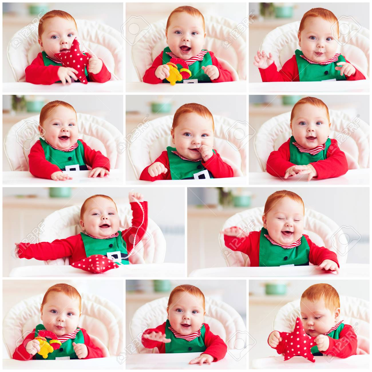set of cute happy infant baby boy in elf costume sitting in highchair Stock Photo -  sc 1 st  123RF.com & Set Of Cute Happy Infant Baby Boy In Elf Costume Sitting In ...