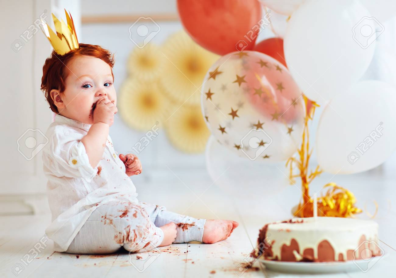 Awesome Funny Infant Baby Boy Tasting His 1St Birthday Cake Stock Photo Personalised Birthday Cards Cominlily Jamesorg
