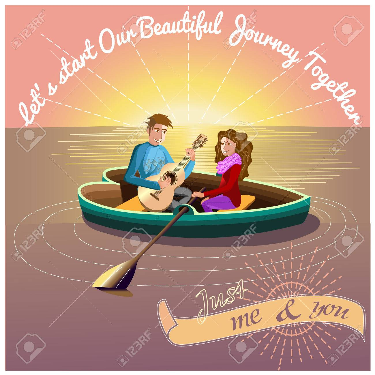 Love Journey Morning Presentation Card With Sun And Heart Boat