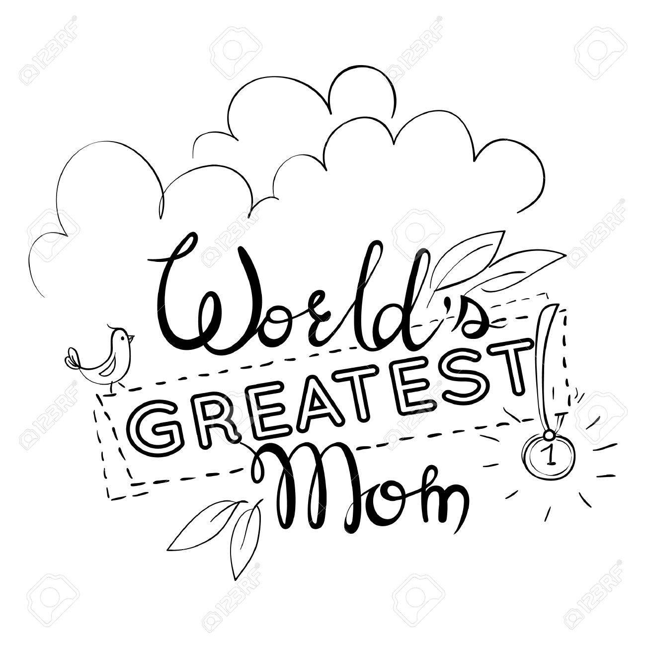 Carte De Voeux Pour Le Jour De La Mère Citation La Plus Grande Maman Du Monde Avec Une Médaille Noir Et Blanc Illustration
