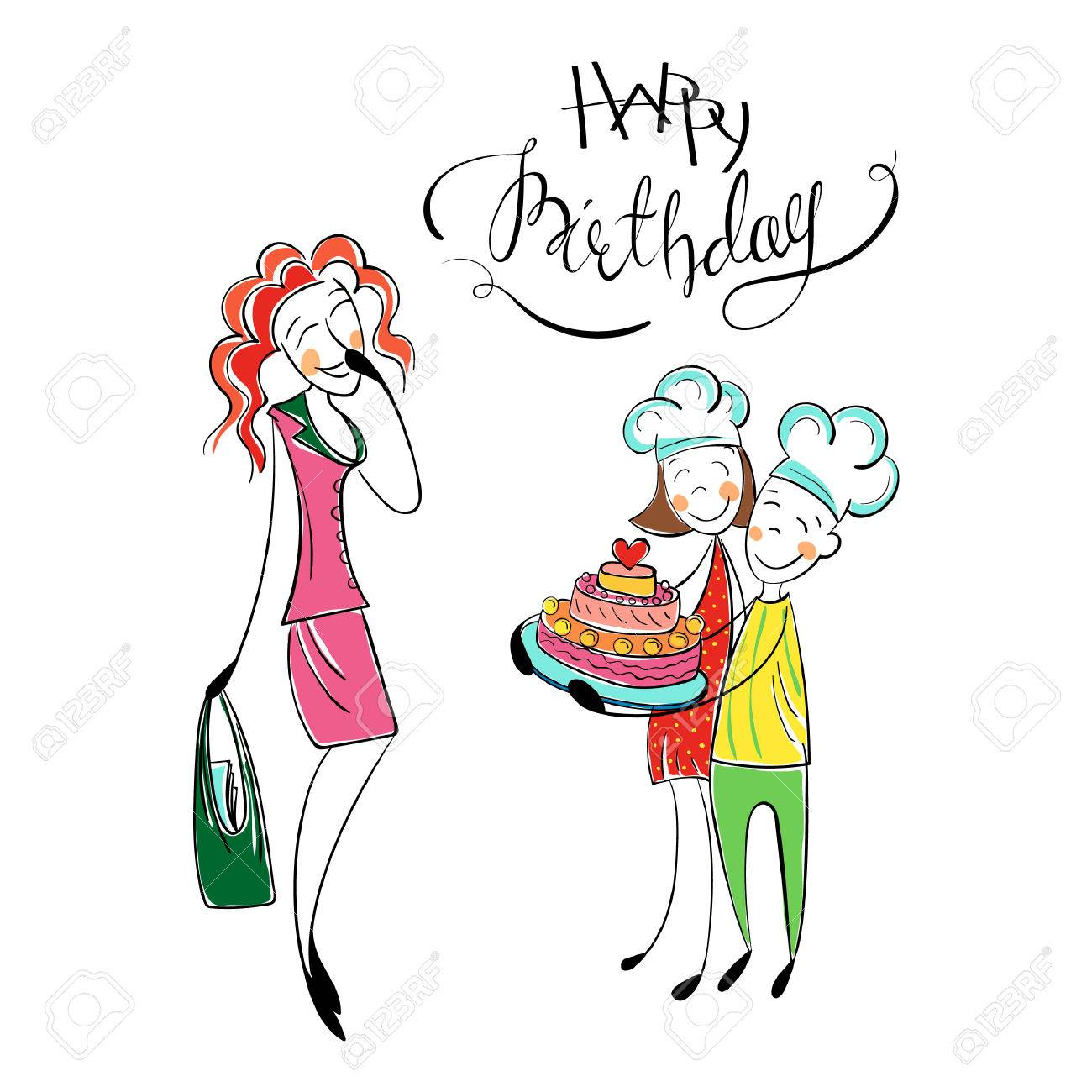 Mothers birth day happy family with kids greeting mom with cake happy family with kids greeting mom with cake children love m4hsunfo