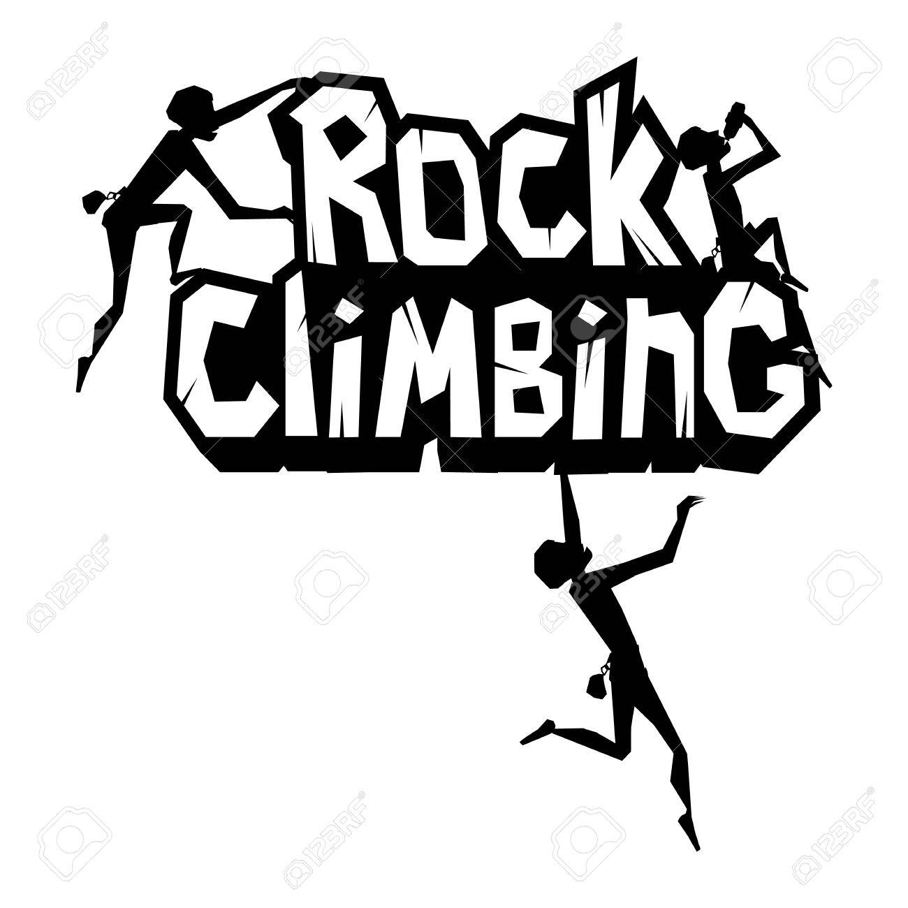 rock climbing emblem man is climbing the rock black print isolated rh 123rf com