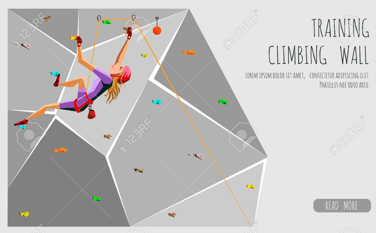 trainings kletterwand mit griffen und hält. rock-mädchen klettern