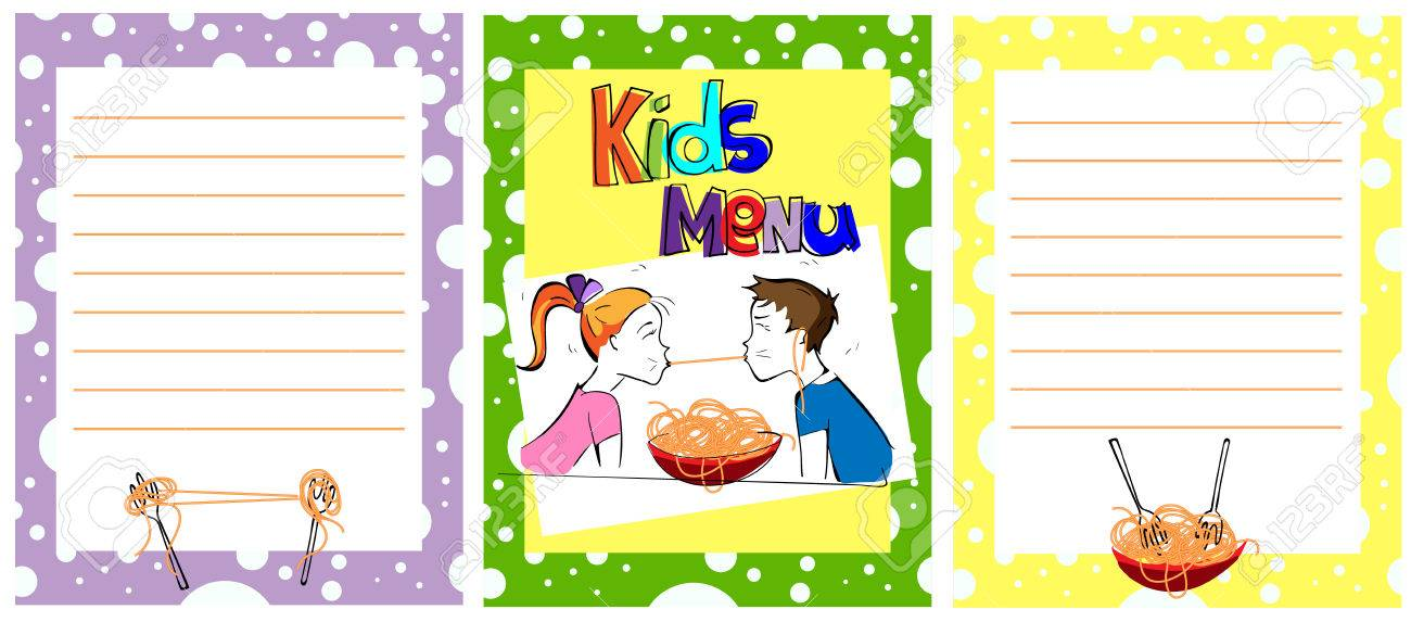 Cute Colorful Kids Meal Menu Template. Comic Kids Eating Spaghetti ...