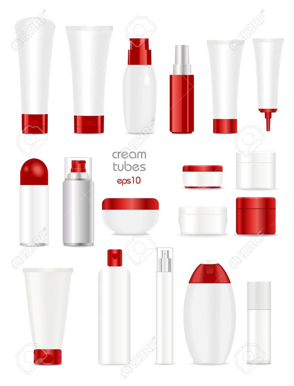 Blank cosmetic tubes on white background. White and red colors. Place for your text. - 40972378