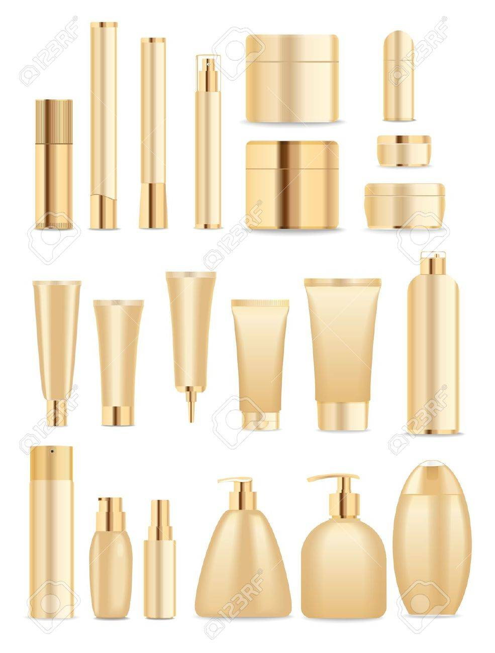 Set of cosmetic tubes isolated on white. Gold and white colors. Place for your textVector - 42934152