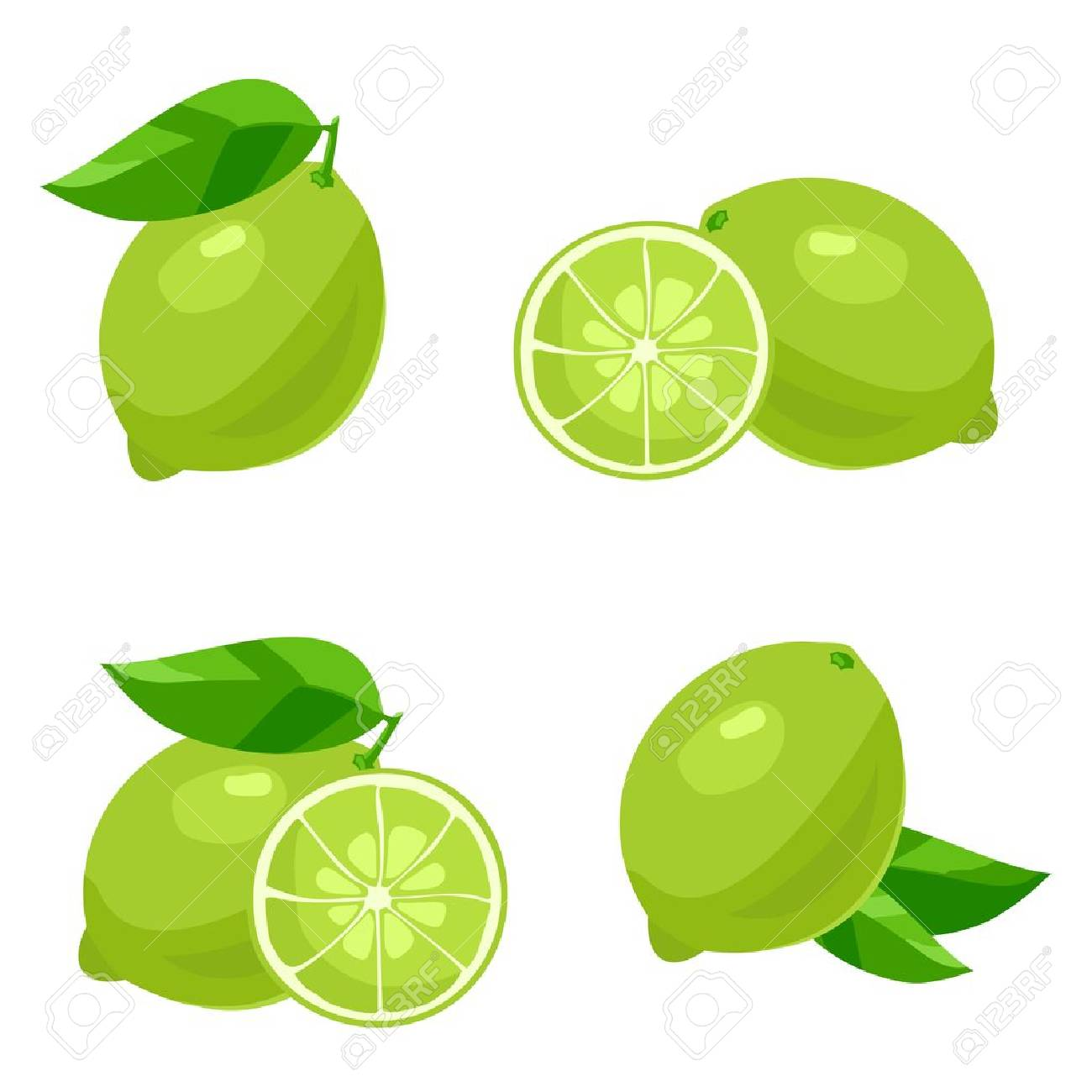 Set of of lime with leaves. Isolated on white - 43463552