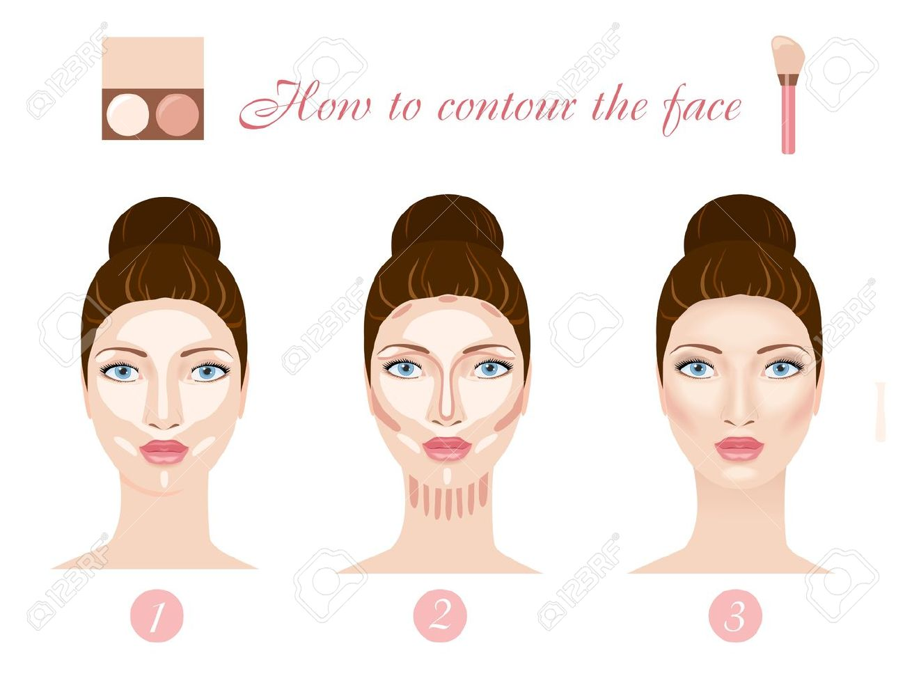 How To Contour Face Three Steps Of Professional Contouring: Highlight,  Contour And Blend