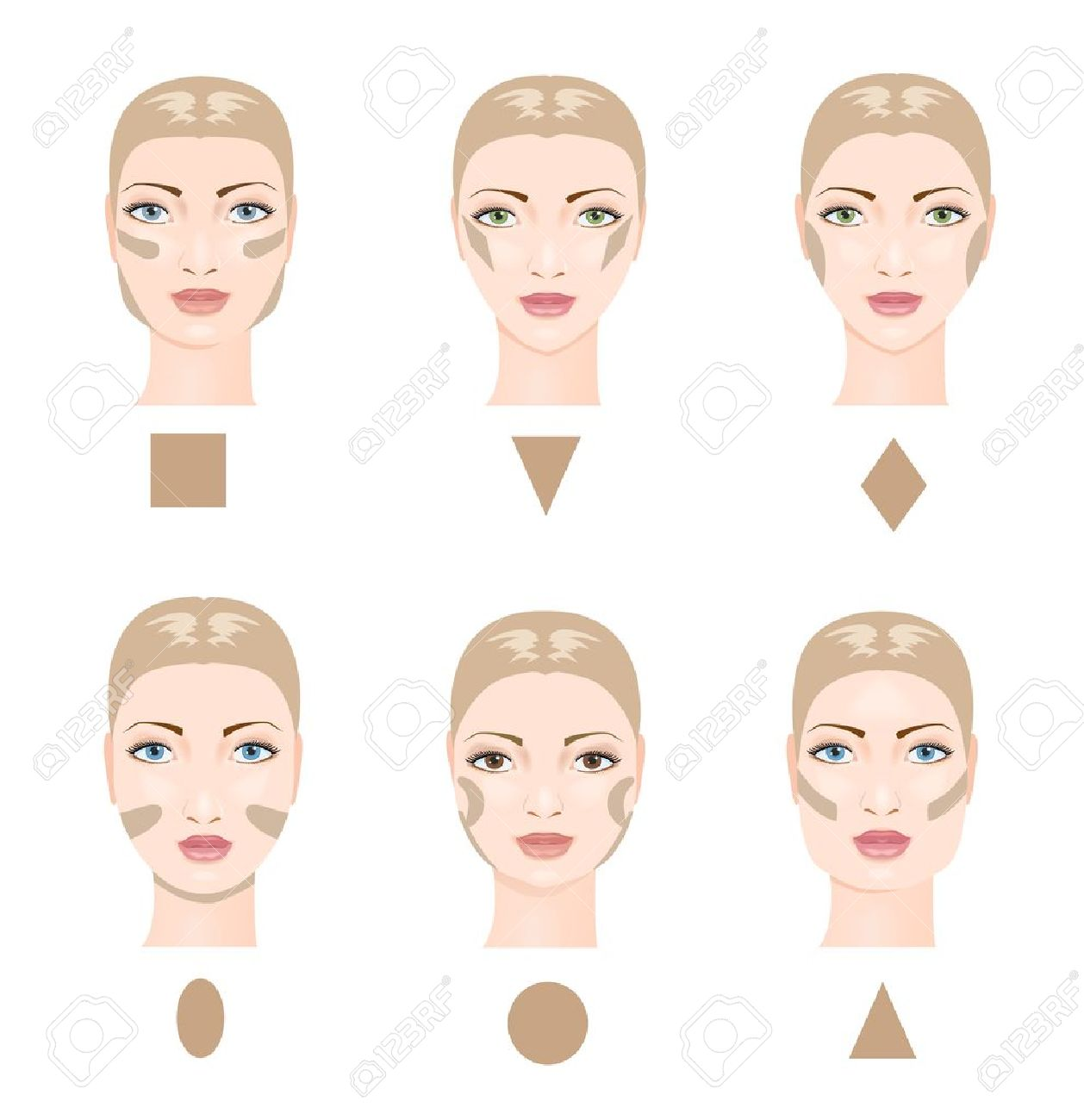 How To Contour Face Six Face Shapes Vector Illustration Stock Vector  45100270 How To Contour Face